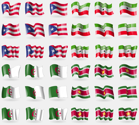 somaliland: Puerto Rico, Somaliland, Algeria, Suridame. Set of 36 flags of the countries of the world. Vector illustration Illustration