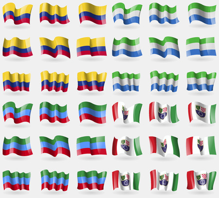 dagestan: Colombia, Sierra Leonne, Dagestan, Bosnia and Herzegovina Federation. Set of 36 flags of the countries of the world. Vector illustration