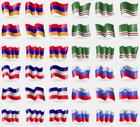 los: Armenia, Chechen Republic of Ichkeria, Los Altos, Slovenia. Set of 36 flags of the countries of the world. Vector illustration Illustration