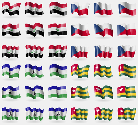 36: Iraq, Czech Republic, Lesothe, Togo. Set of 36 flags of the countries of the world. Vector illustration