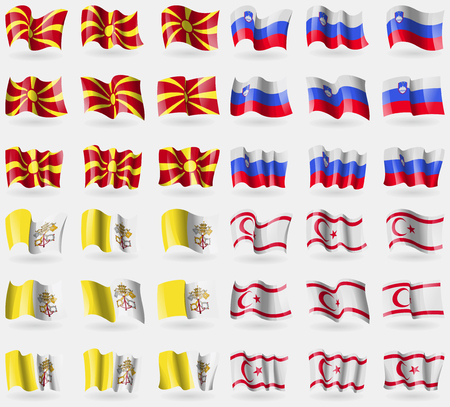 36: Macedonia, Slovenia, Vatican CityHoly See, Turkish Northern Cyprus. Set of 36 flags of the countries of the world. Vector illustration Illustration