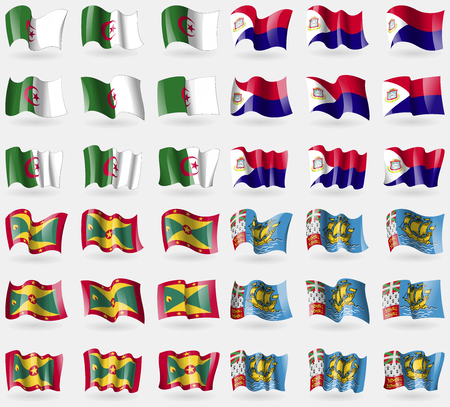 martin: Algeria, Saint Martin, Grenada, Saint Pierre and Miquelon. Set of 36 flags of the countries of the world. Vector illustration Ilustracja