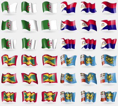 saint martin: Algeria, Saint Martin, Grenada, Saint Pierre and Miquelon. Set of 36 flags of the countries of the world. Vector illustration Illustration