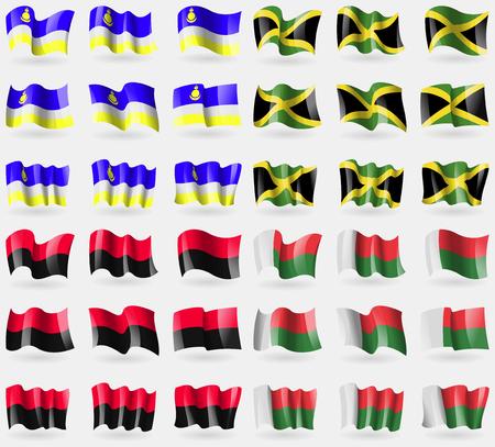 Buryatia, Jamaica, UPA, Madagascar. Set of 36 flags of the countries of the world. Vector illustration