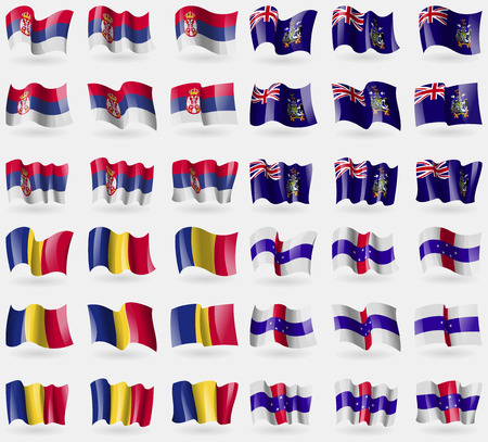 antilles: Serbia, Georgia and Sandwich, Romania, Netherlands Antilles. Set of 36 flags of the countries of the world. Vector illustration