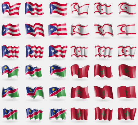 Puerto Rico, Turkish Northern Cyprus, Namibia, Morocco. Set of 36 flags of the countries of the world. Vector illustration