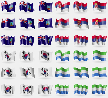 36: Montserrat, Serbia, Korea South, Sierra Leone. Set of 36 flags of the countries of the world. Vector illustration