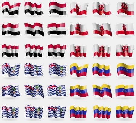 indian ocean: Yemen, Gibraltar, British Indian Ocean Territory, Venezuela. Set of 36 flags of the countries of the world. Vector illustration