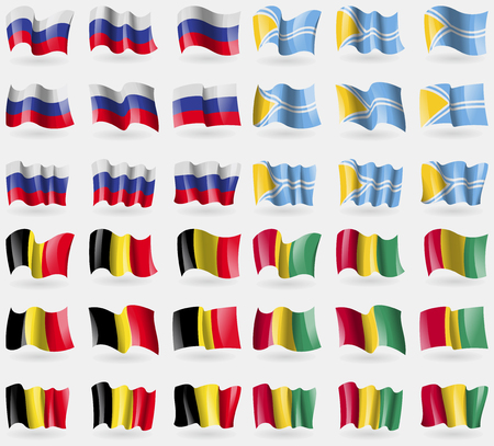36: Russia, Tuva, Belgium, Guinea. Set of 36 flags of the countries of the world. Vector illustration
