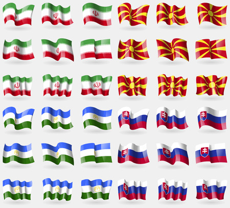 36: Iran, Macedonia, Bashkortostan, Slovakia. Set of 36 flags of the countries of the world. Vector illustration Illustration