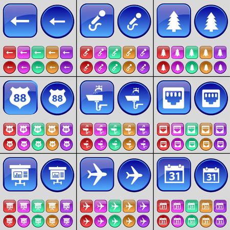lan: Arrow left, Microphone, Fir tree, Badge, Tap, LAN socket, Diagram, Airplane, Calendar. A large set of multi-colored buttons. Vector illustration