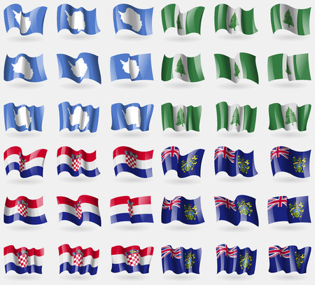 36: Antarctica, Norfolk Island, Croatia, Pitcairn Islands. Set of 36 flags of the countries of the world. Vector illustration Illustration