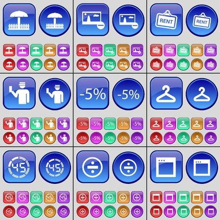 picture window: Umbrella, Picture, Rent, Silhouette, Discount, Hanger, Countdown, Division, Window. A large set of multi-colored buttons. Vector illustration