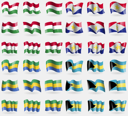 36: Hungary, Saba, Gabon, Bahamas. Set of 36 flags of the countries of the world. Vector illustration