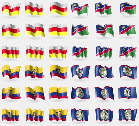 36: North Ossetia, Namibia, Ecuador, Belize. Set of 36 flags of the countries of the world. Vector illustration