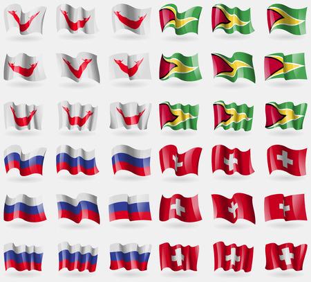 rapa nui: Pascua Rapa Nui, Guyana, Rusia, Suiza. Conjunto de 36 banderas de los países del mundo. ilustración vectorial