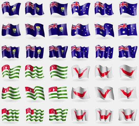 helena: Saint Helena, Australia, Abkhazia, Easter Rapa Nui. Set of 36 flags of the countries of the world. Vector illustration