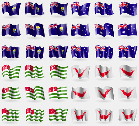 rapa nui: Santa Helena, Australia, Abjasia, Pascua Rapa Nui. Conjunto de 36 banderas de los países del mundo. ilustración vectorial