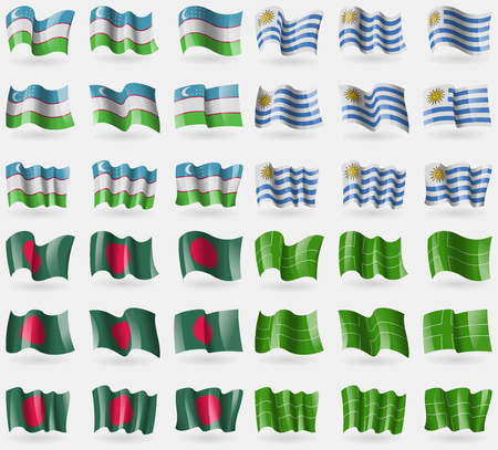 36: Uzbekistan, Uruguay, Bangladesh, Ladonia. Set of 36 flags of the countries of the world. Vector illustration
