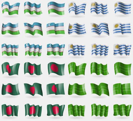 Uzbekistan, Uruguay, Bangladesh, Ladonia. Set of 36 flags of the countries of the world. Vector illustration