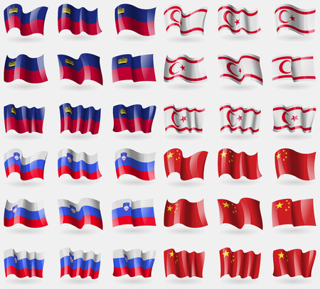 36: Liechtenstein, Turkish Northern Cyprus, Slovenia, China. Set of 36 flags of the countries of the world. Vector illustration Illustration