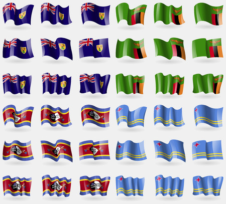 the turks: Turks and Caicos, Zambia, Swaziland, Aruba. Set of 36 flags of the countries of the world. Vector illustration Illustration