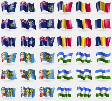 pitcairn: Pitcairn Islands, Chad, Saint Pierre and Miquelon, Bashkortostan. Set of 36 flags of the countries of the world. Vector illustration