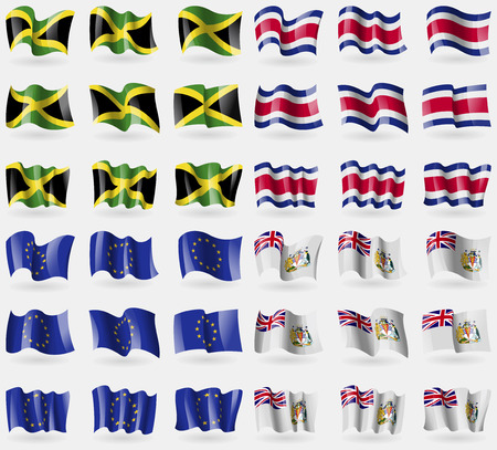 antarctic: Jamaica, Costa Rica, European Union, British Antarctic Territory. Set of 36 flags of the countries of the world. Vector illustration