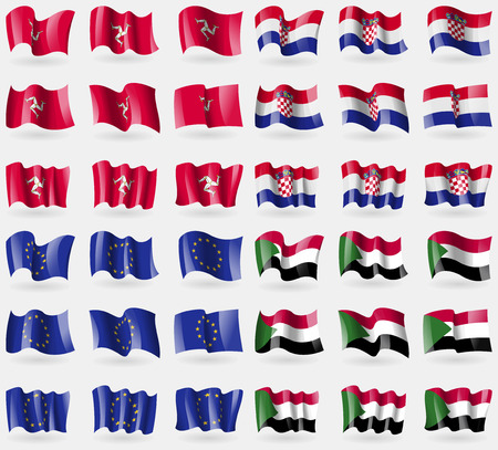 isle: Isle of man, Croatia, European Union, Sudan. Set of 36 flags of the countries of the world. Vector illustration