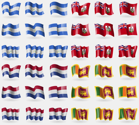 bermuda: Nicaragua, Bermuda, Netherlands, Sri Lanka. Set of 36 flags of the countries of the world. Vector illustration