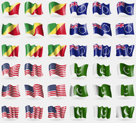 36: Congo Republic, Cook Islands, USA, Pakistan. Set of 36 flags of the countries of the world. Vector illustration