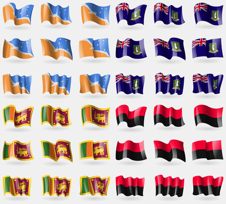 del: Tierra del Fuego Province, VirginIslandsUK, Sri Lanka, UPA. Set of 36 flags of the countries of the world. Vector illustration