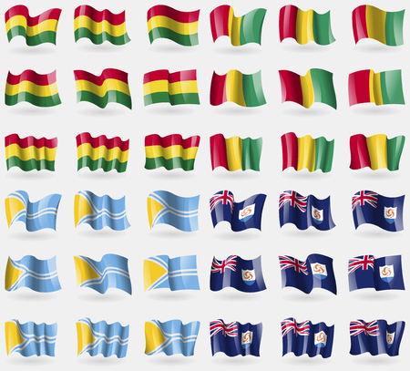 anguilla: Bolivia, Guinea, Tuva, Anguilla. Set of 36 flags of the countries of the world. Vector illustration