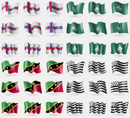 brittany: Faroe Islands, Macau, Saint Kitts and Nevis, Brittany. Set of 36 flags of the countries of the world. Vector illustration