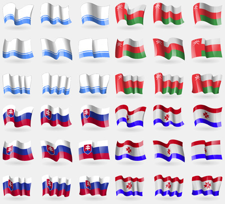 altai: Altai Republic, Oman, Slovakia, Mordovia. Set of 36 flags of the countries of the world. Vector illustration Illustration