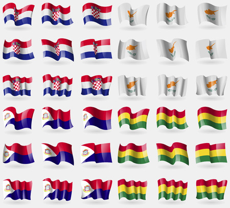 martin: Crotia, Cyprus, Saint Martin, Bolivia. Set of 36 flags of the countries of the world. Vector illustration