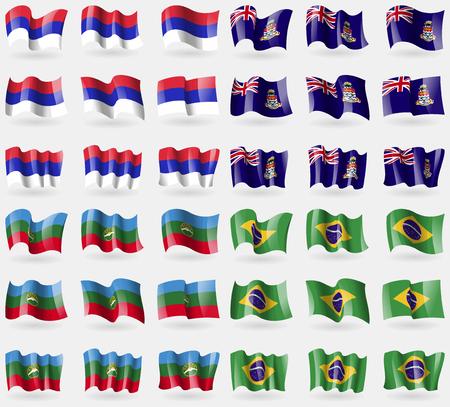 cayman islands: Republika Srpska, Cayman Islands, KarachayCherkessia, Brazil. Set of 36 flags of the countries of the world. Vector illustration Illustration