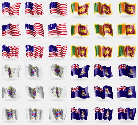 cayman: Bikini Atoll, Sri Lanka, Saint Barthelemy, Cayman Islands. Set of 36 flags of the countries of the world. Vector illustration Illustration