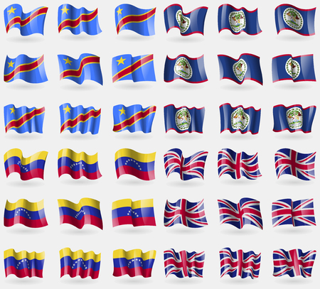 36: Congo Democratic Republic, Belize, Venezuela, United Kingdom. Set of 36 flags of the countries of the world. Vector illustration
