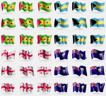 principe: Santo Tomé y Príncipe, de Bahamas, Georgia, Santa Elena. Conjunto de 36 banderas de los países del mundo. ilustración vectorial