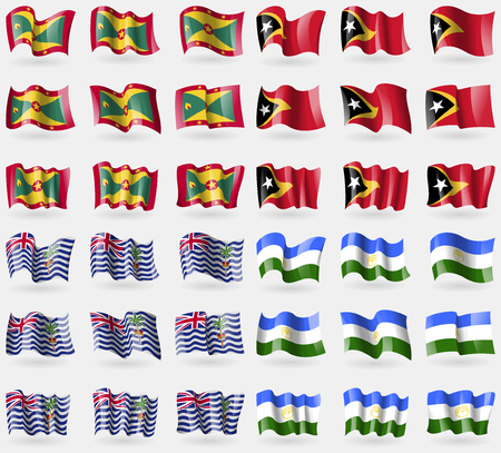 indian ocean: Grenada, East Timor, British Indian Ocean Territory, Bashkortostan. Set of 36 flags of the countries of the world. Vector illustration Illustration