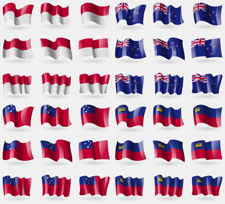 new zeland: Indonesia, New Zeland, Samoa, Liechtenstein. Set of 36 flags of the countries of the world. Vector illustration Illustration