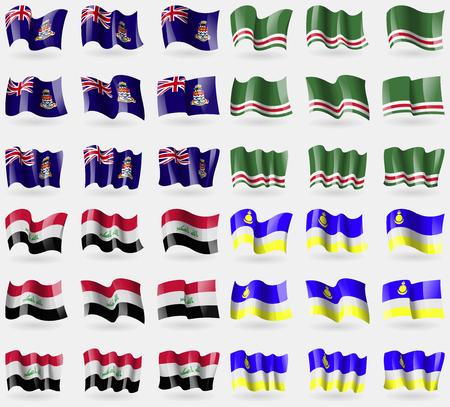 buryatia: Cayman Islands, Chechen Republic of Ichkeria, Iraq, Buryatia. Set of 36 flags of the countries of the world. Vector illustration Illustration