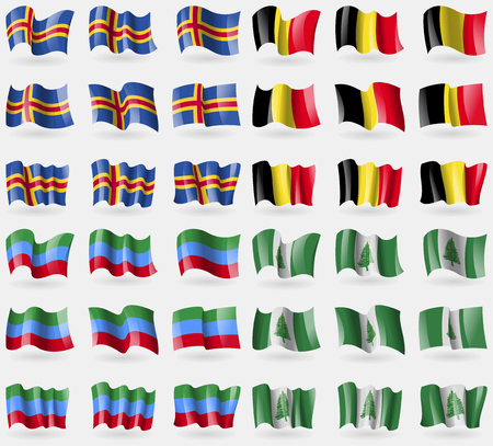 36: Aland, Belgium, Dagestan, Norfolk Island. Set of 36 flags of the countries of the world. Vector illustration Illustration