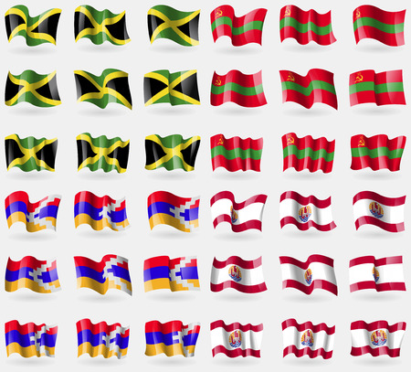 french culture: Jamaica, Transnistria, Karabakh Republic, French Polynesia. Set of 36 flags of the countries of the world. Vector illustration Illustration