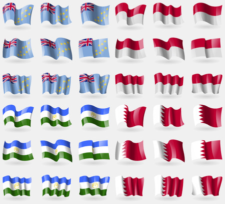 indonesia culture: Tuvalu, Indonesia, Bashkortostan, Bahrain. Set of 36 flags of the countries of the world. Vector illustration Illustration