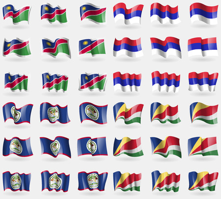 republika: Namibia, Republika Srpska, Belize, Seychelles. Set of 36 flags of the countries of the world. Vector illustration