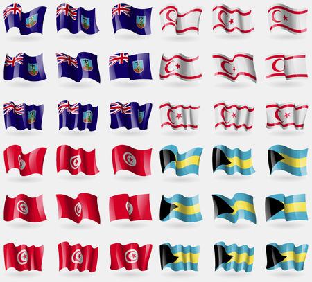 montserrat: Montserrat, Turkish Northern Cyprus, Tunisia, Bahamas. Set of 36 flags of the countries of the world. Vector illustration