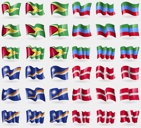 dagestan: Guyana, Dagestan, Marshall Islands, Military Order Malta. Set of 36 flags of the countries of the world. Vector illustration Illustration