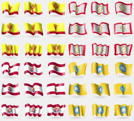 polynesia: Chuvashia, Sikkim, French Polynesia, Kalmykia. Set of 36 flags of the countries of the world. Vector illustration